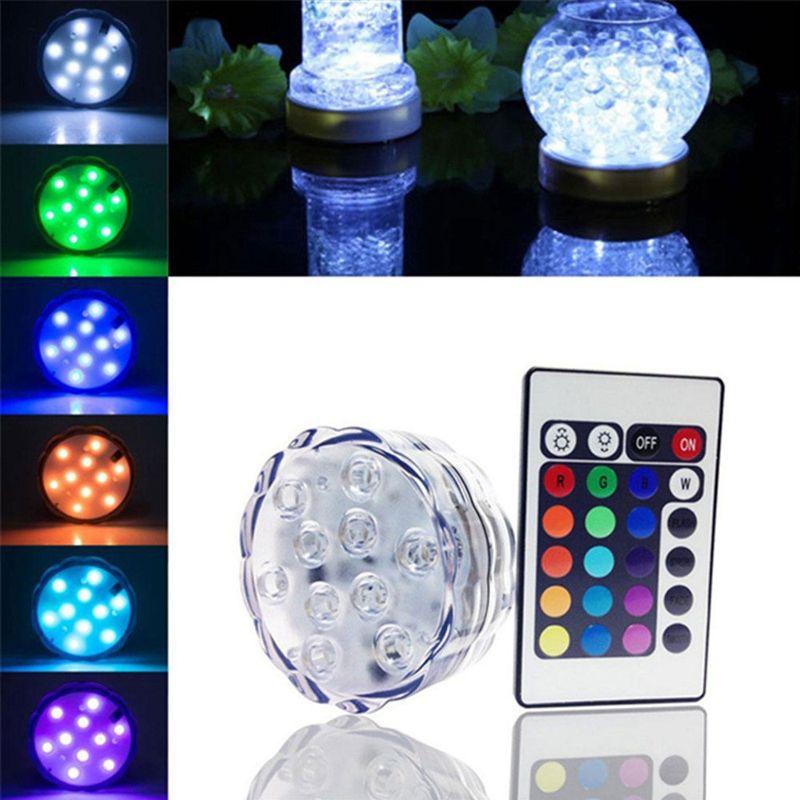 6fc86813900 Acheter Edison2011 10 LED Multicolore 20 24 Clé À Distance Submersible  Lumière Étanche Thé Floralytes Vase
