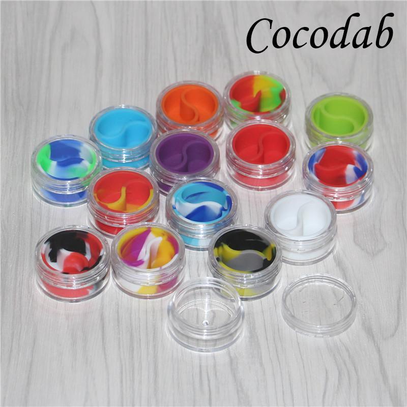 Durchsichtiges Kunststoff-Acryl-E-Liquid-Case-Wachs-Halter-Box 10 ml Mini-Acryl-Bho-Gläser Silikon-Gläser Tupfen Sie Wachs-Vaporizer-Öl-Behälter-Silikon-Glas