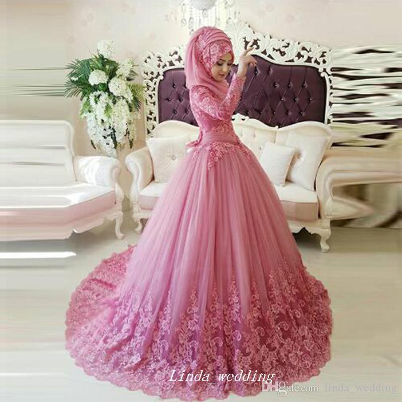 Arabe Musulman Longues Manches Robe De Mariée Turc Gelinlik Islamique Hijab Applique Dentelle Femmes Robe De Soirée De Mariée Plus La Taille