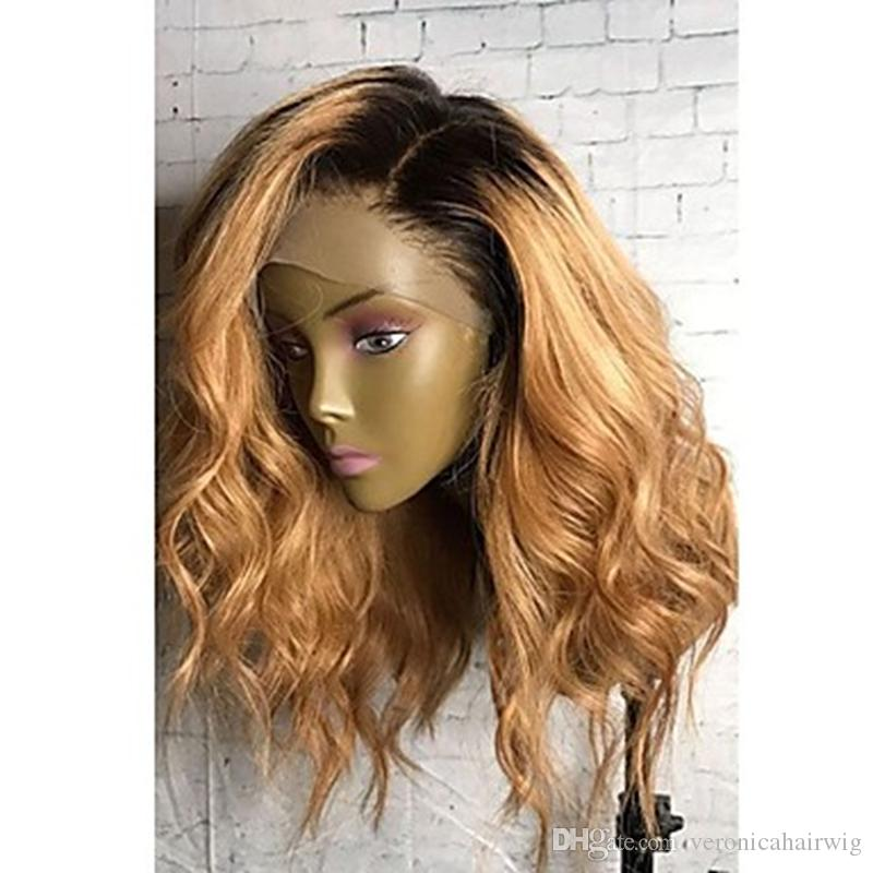 High Quality Cheap Ombre Wigs 1B/27# Short Bob Curly Wavy Lace Front Wigs Heat Resistant Synthetic Lace Front Wigs for Black Women