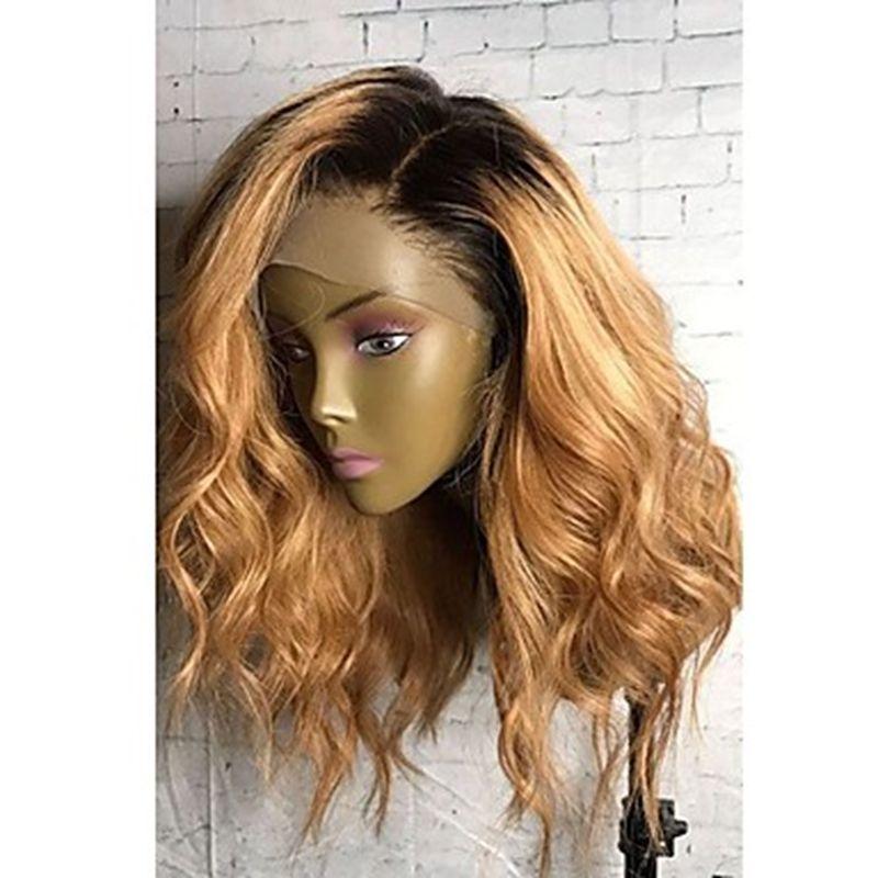 Hohe Qualität Günstige Ombre Perücken 1B / 27 # Kurze Bob Lockige Wellenförmige Spitzefrontseiten Hitzebeständige Synthetische Spitzefrontseitenperücken für Schwarze Frauen