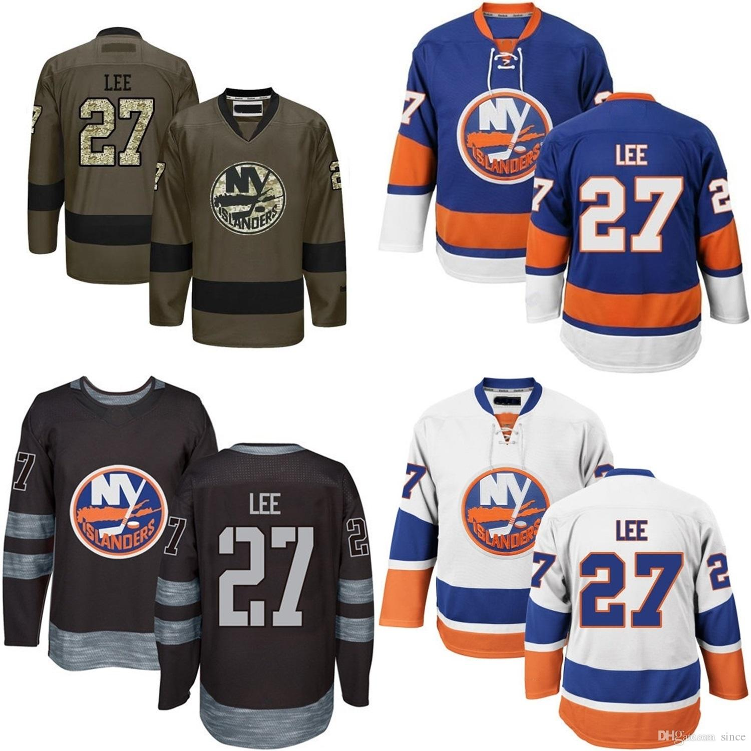 newest 723ba ae95e 2016 New MENS New York Islanders 27 Anders Lee Hockey Jersey Blue White  Black Green 100% Embroidery logo Authentic uniforms Size M-3XL
