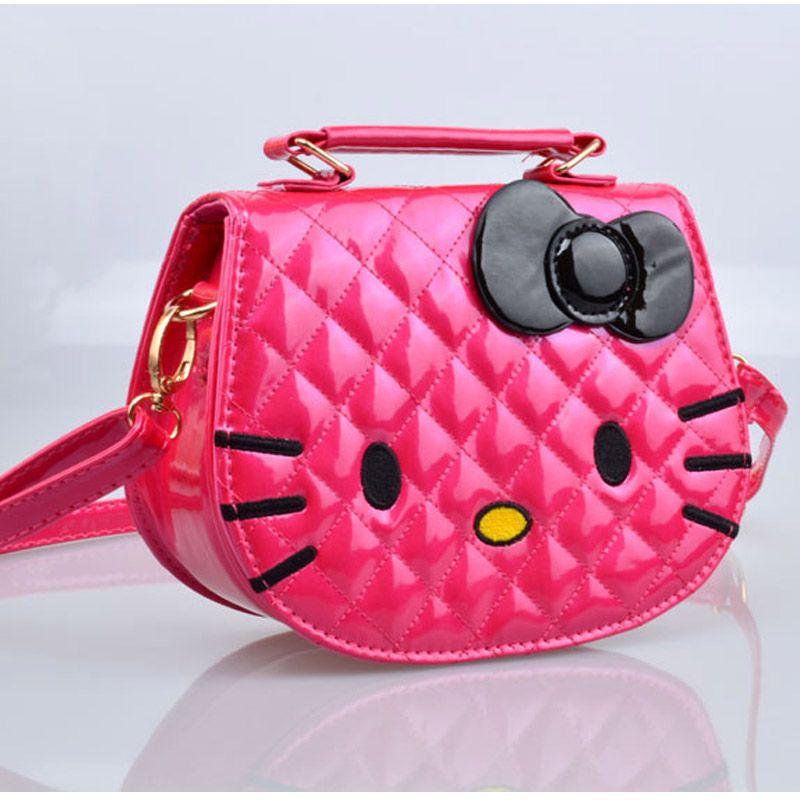 8416ea71789a Купить Оптом Оптовая Продажа 2016 Симпатичные Hello Kitty Дети Небольшой  Сумка Высокого Качества PU Cat Маленькие Девочки Crossbody Сумка Красный  Черный ...