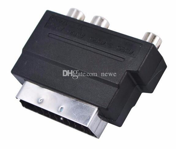 HOT Electronics Video RGB Scart to Composite 3 RCA S-Video AV TV Audio Adapter Converter Scart to RCA