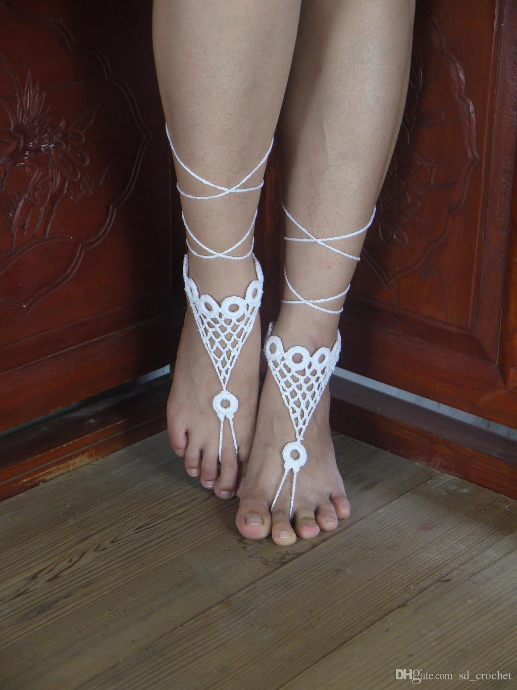 4cc5707ca69635 2019 Beach Wedding Crochet White Barefoot Sandal