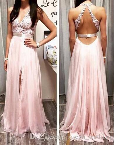 Pink Chiffon A-Linie Abendkleider Sexy V-Ausschnitt Applikationen Abendkleid Breite Träger im hinteren Bein Schlitz Lange Party Kleider