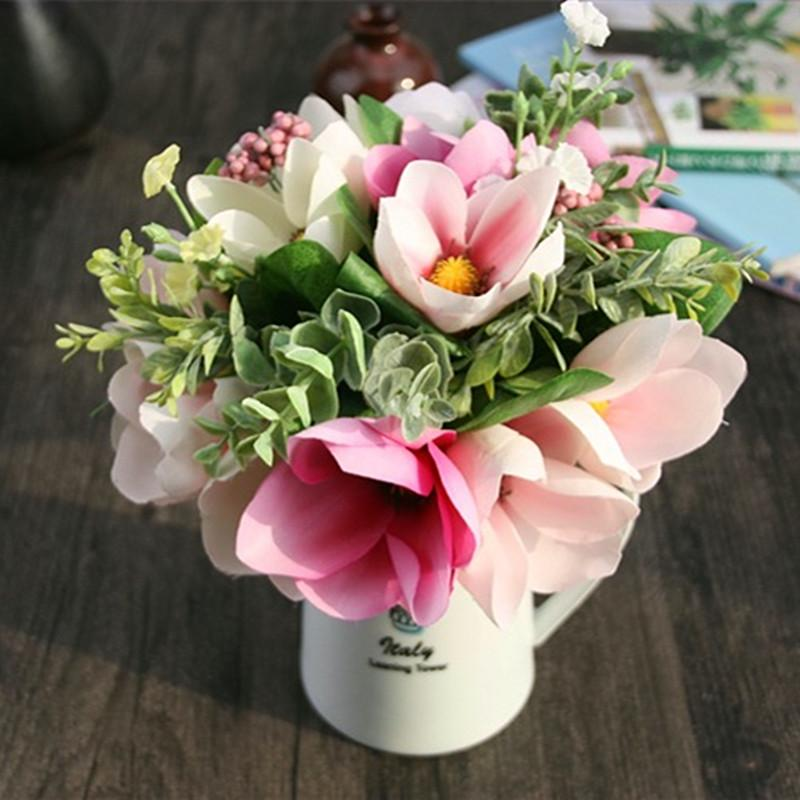 Online Cheap Silk Flower Wedding Bouquet Magnolia Artificial Flowers ...