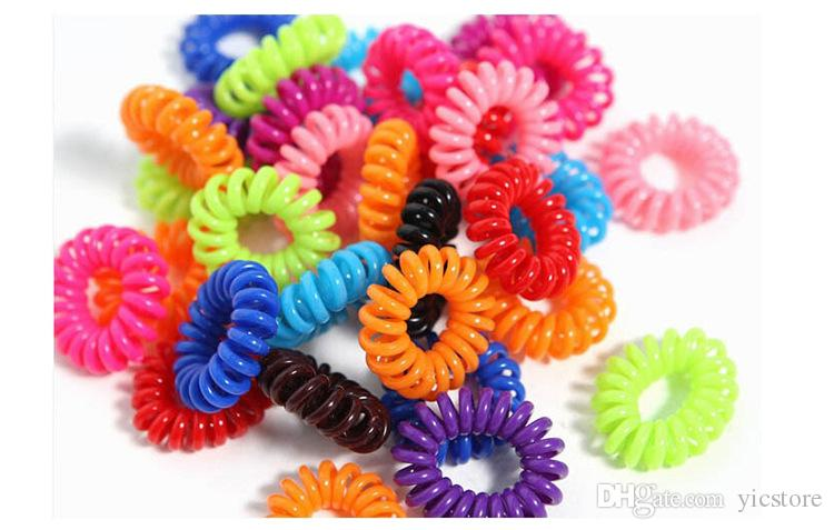 Candy Colored Telephone Line Mix Color Fashionable Gum Elastic Ties Wear  Hair Ring Spring Rubber Band Accessory Maker Tools Accessories Headbands  Headbands ... 7813b13ca97