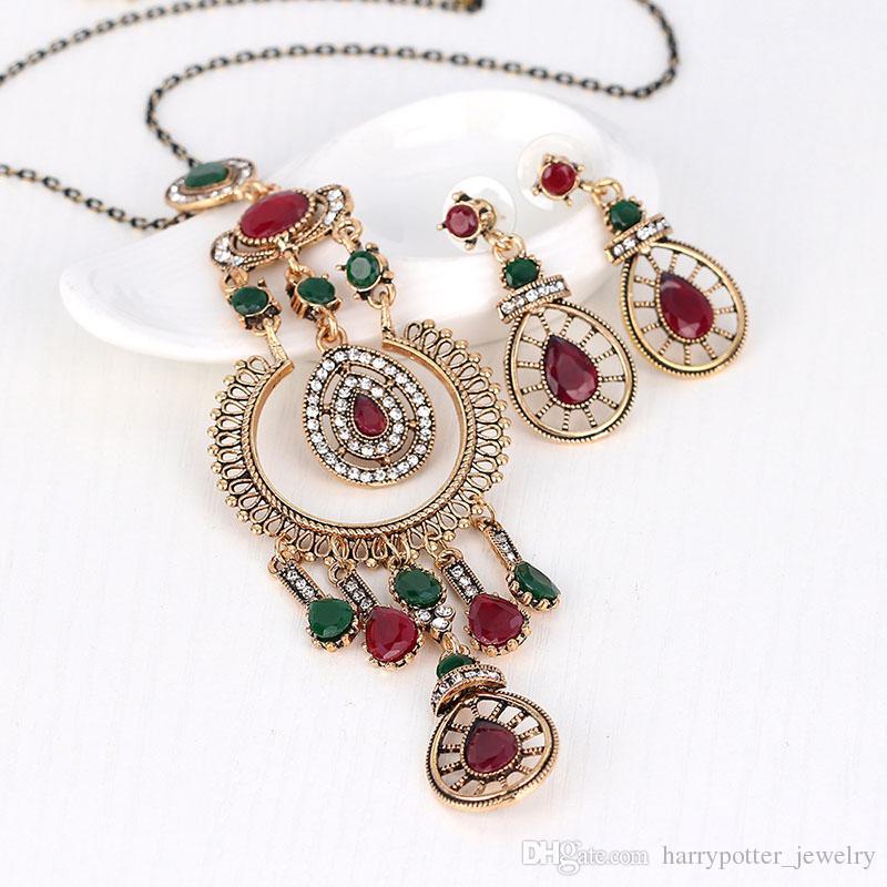 déclaration turque femmes boucles d'oreilles collier bijoux ensemble résine strass goutte princesse crochet boucle d'oreille fleur collier de mariage drop ship 162005