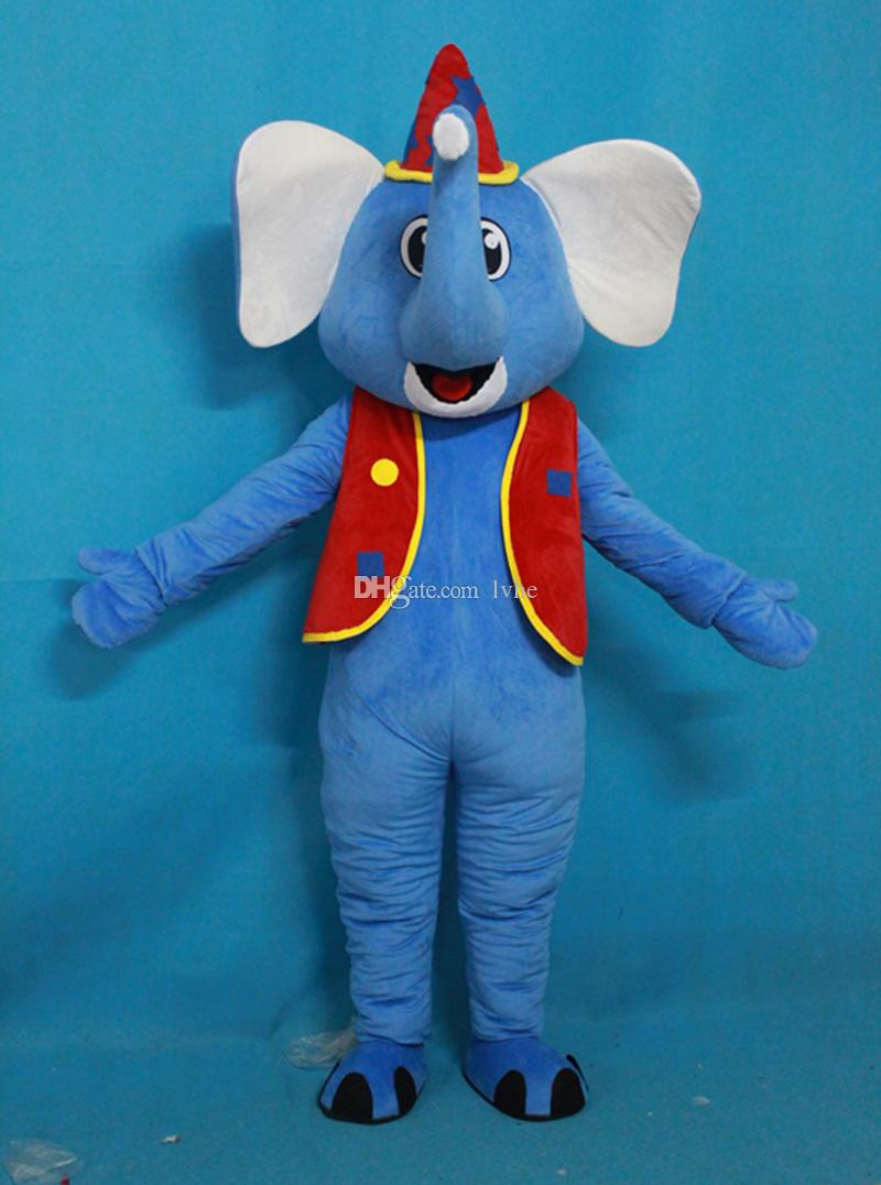 Blue Elephant With Red Vest Mascot Costume Fancy Party Dress Halloween Carnivals Costumes With High Quality For Adult Mens Mascot Costumes Professional ... & Blue Elephant With Red Vest Mascot Costume Fancy Party Dress ...