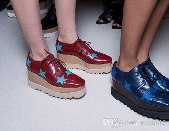 vendita all'ingrosso scarpe Lady plartform, scarpe a punta quadrata con zeppa in vera pelle scarpe con stella crescente di altezza vendita calda beige 35-42