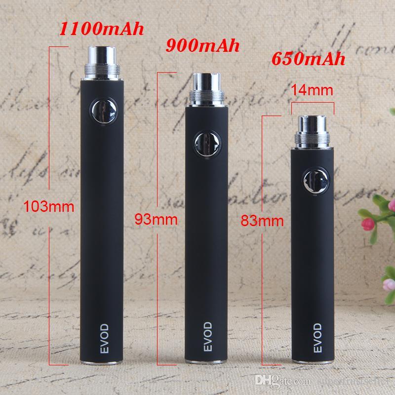 EVOD Preheat VV vaporizzatore batteria 1100 900 650 mAh Tensione variabile e sigaretta 510 Thread Vape Pen E-cig caricatore USB EGO-T MT3 CE4 CE5