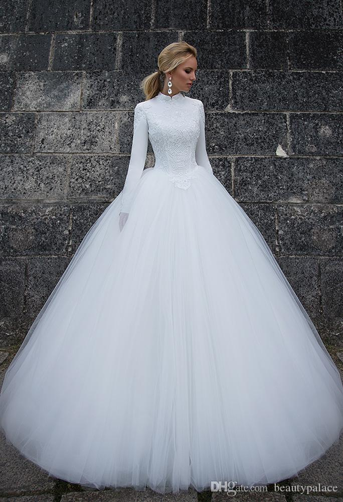 Gorgeous Ball Gown High Collar Floor Length White Tulle Muslim Wedding Dresses Long Sleeve Lace Famous Bridal Wedding Gowns