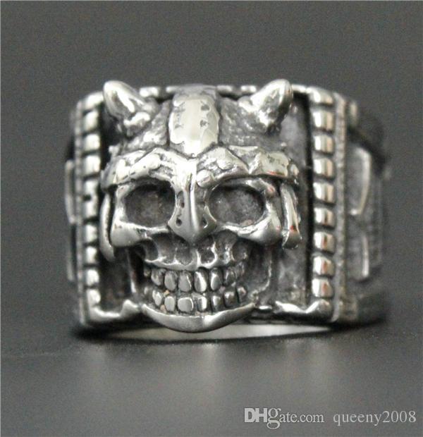 Size 7-13 Punk Style Thor Hammer Biker Skull Ring 316L Stainless Steel Jewelry Cool Design Mens Horns Skull Ring
