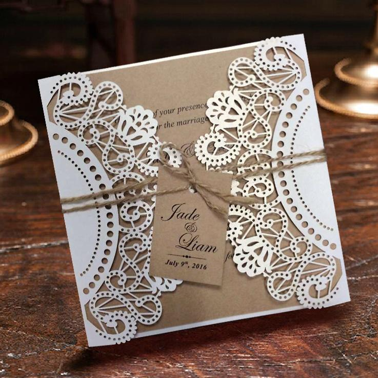 WholesaleWhite Rustic Wedding Invitation Cards Customized Kraft