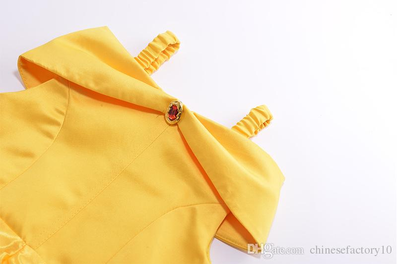 Beauty and Beast Bell's Yellow Princess Dress Girls Cosplay Costume Party Dresses Lace Up Bowknot Tunic Skirt