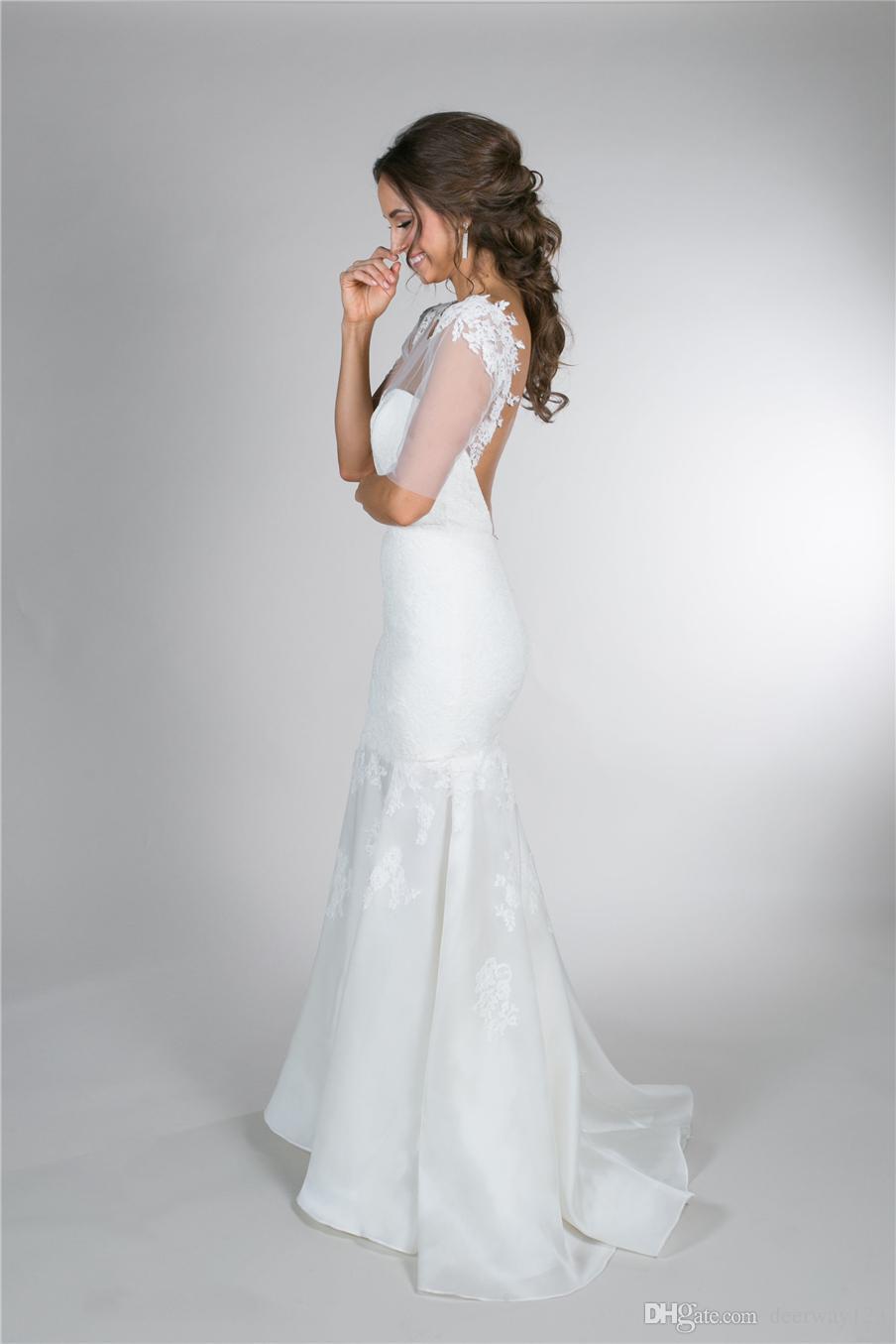 Elegante bateau sin mangas tribunal tren encaje sirena vestido de novia apliques de encaje espalda abierta botón espalda nupcial vestido robe de soirée
