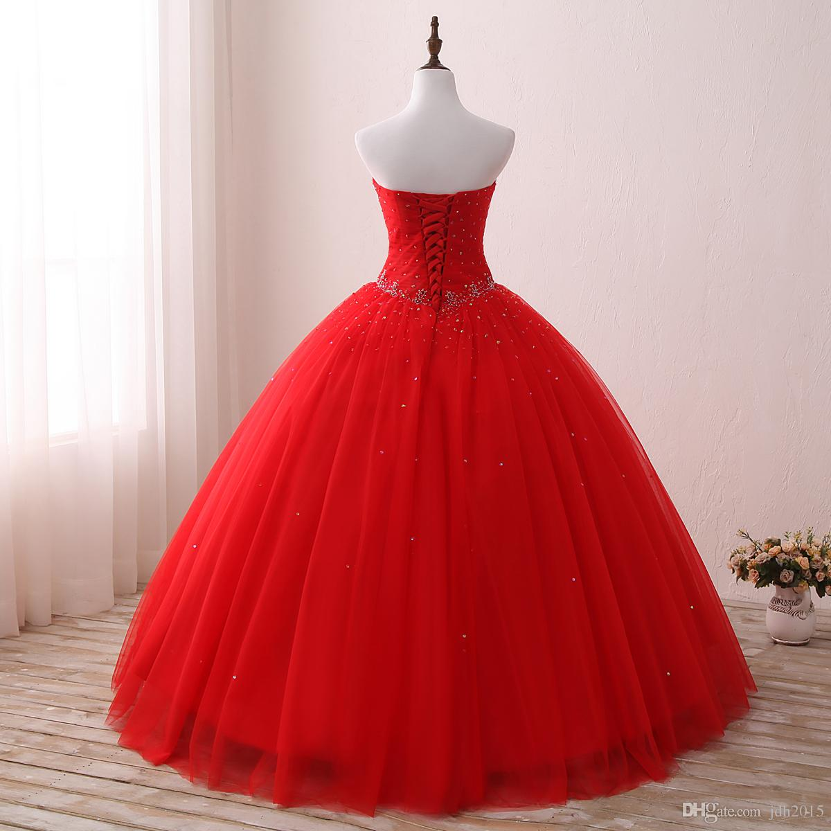 Bling Bling Beaded Crystal Red Evening Dresses Long Sweetheart Sequined Ball Gowns Women Formal Dresses