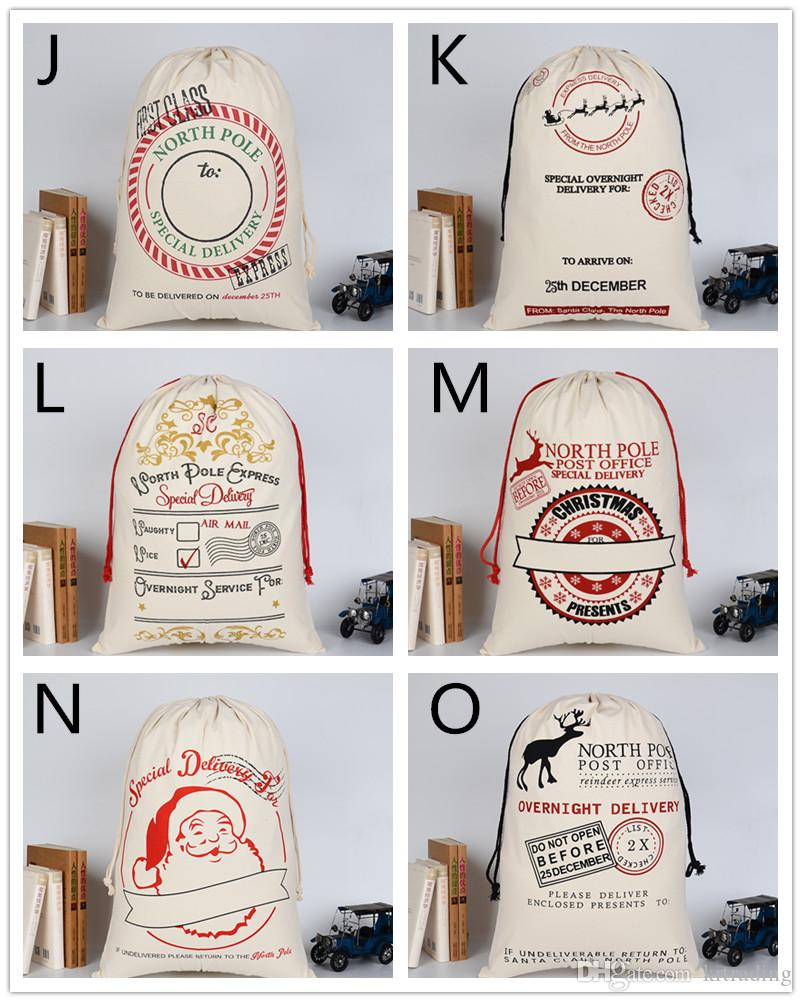 Christmas printing cotton canvas drawstring bags 50x70cm kids gift bags Xmas party sale promotion packing bag EMS
