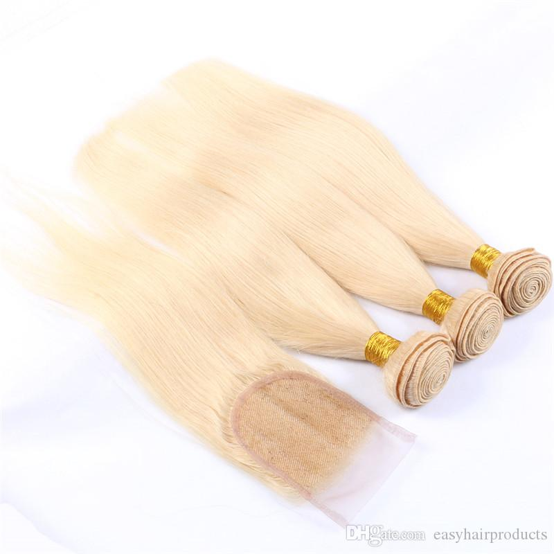 #613 blonde 4x4 Free Part Lace Top Closure With Bundles Virgin Indian Straight Human Hair Weaves Closure G-EASY
