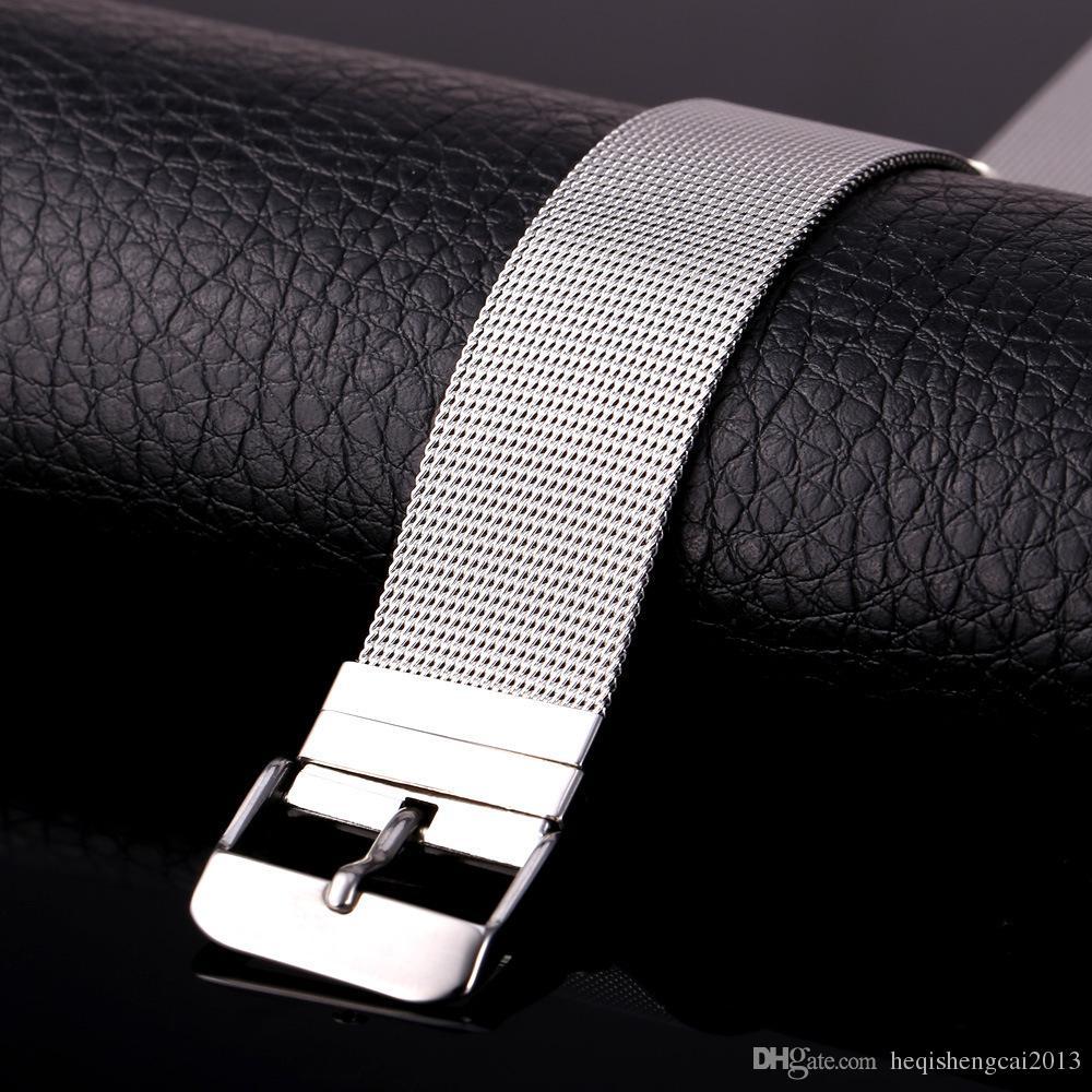 Высокое качество! 18K золото / черный пистолет покрытием браслеты из нержавеющей стали браслет Мужчины Женщины смотреть ремешок браслеты новая мода