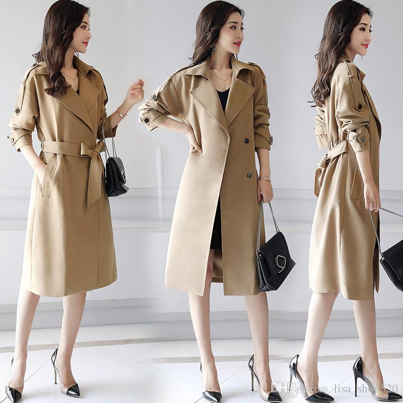 Fashion Korean Style Womens Winter Womens Trench Coats Womens Bow