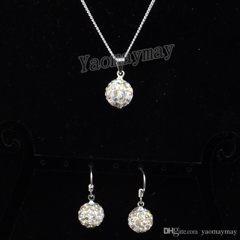 AB Clear Disco Ball Pendant Earrings And Silver Tone Necklace Crystal Jewelry Set Wholesale