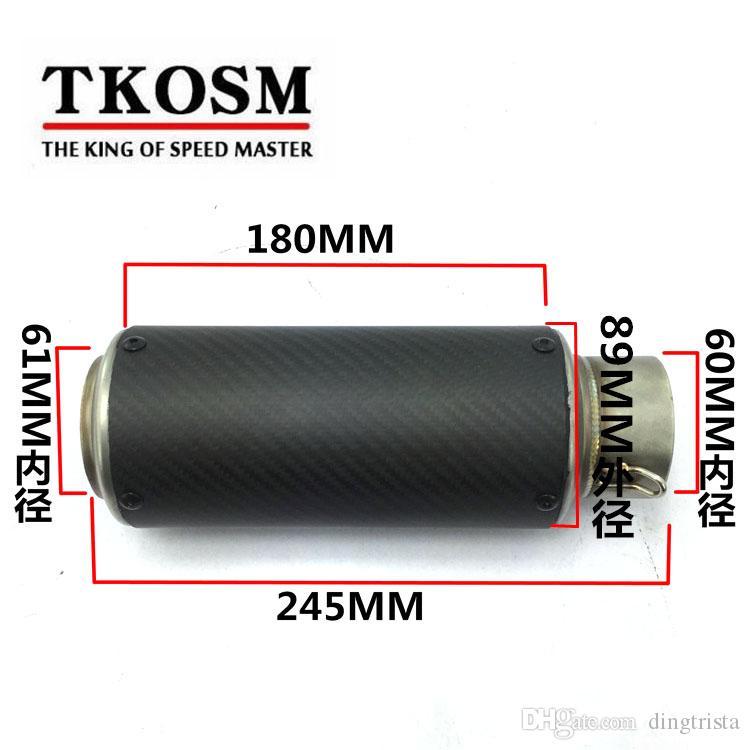 KTOSM Scooter modificado 60MM para BMWS1000 para Kawasaki Z1000 para YAMAHA R1 motocicleta grande tubo de escape redondo oblicuo con etiqueta