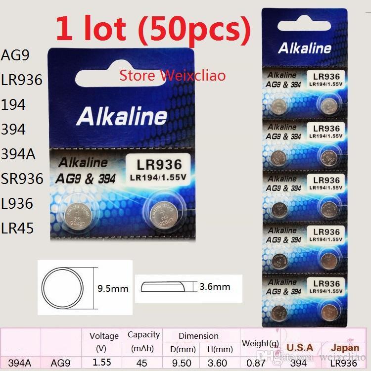 50 قطع 1 وحدة AG9 LR936 194 394 394A SR936 L936 LR45 1.55 فولت بطارية زر خلية البطارية القلوية شحن مجاني