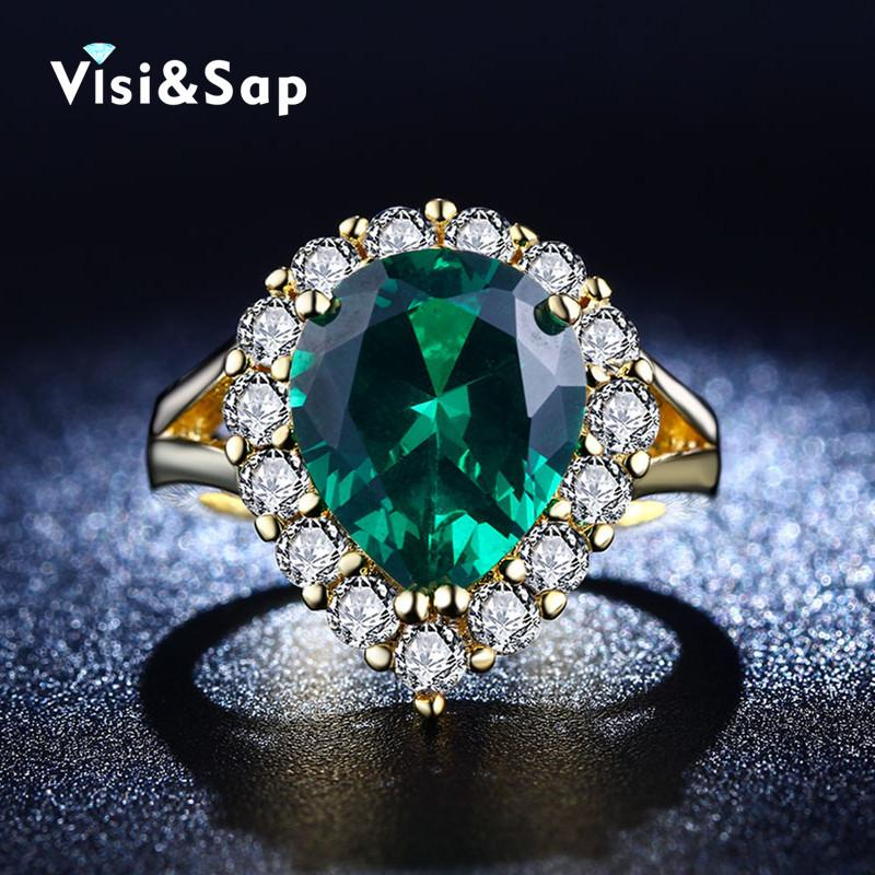 2018 Wholesale Visisap Luxury Ring Russia Green Stone Rings For