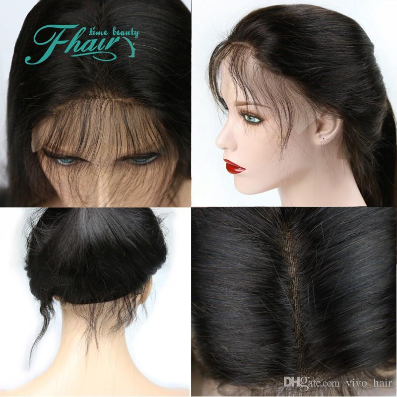 4 x 4 perruque en soie 130% 150% 180% densité avant de lacet perruques de cheveux humains perruques soyeuses droites avec une frange pour les femmes noires cheveux brésiliens
