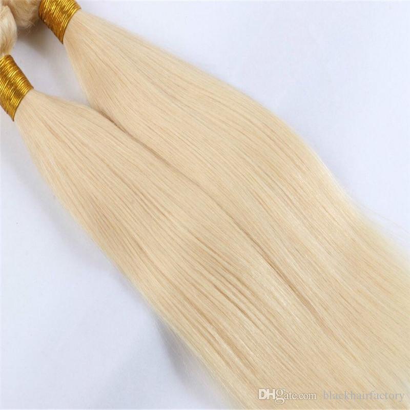 Ücretsiz Kargo Sarışın Saç Uzantıları Sarışın Virgin İnsan Saç Kapatma Ile 3 Adet Brezilyalı Düz Saç Demetleri