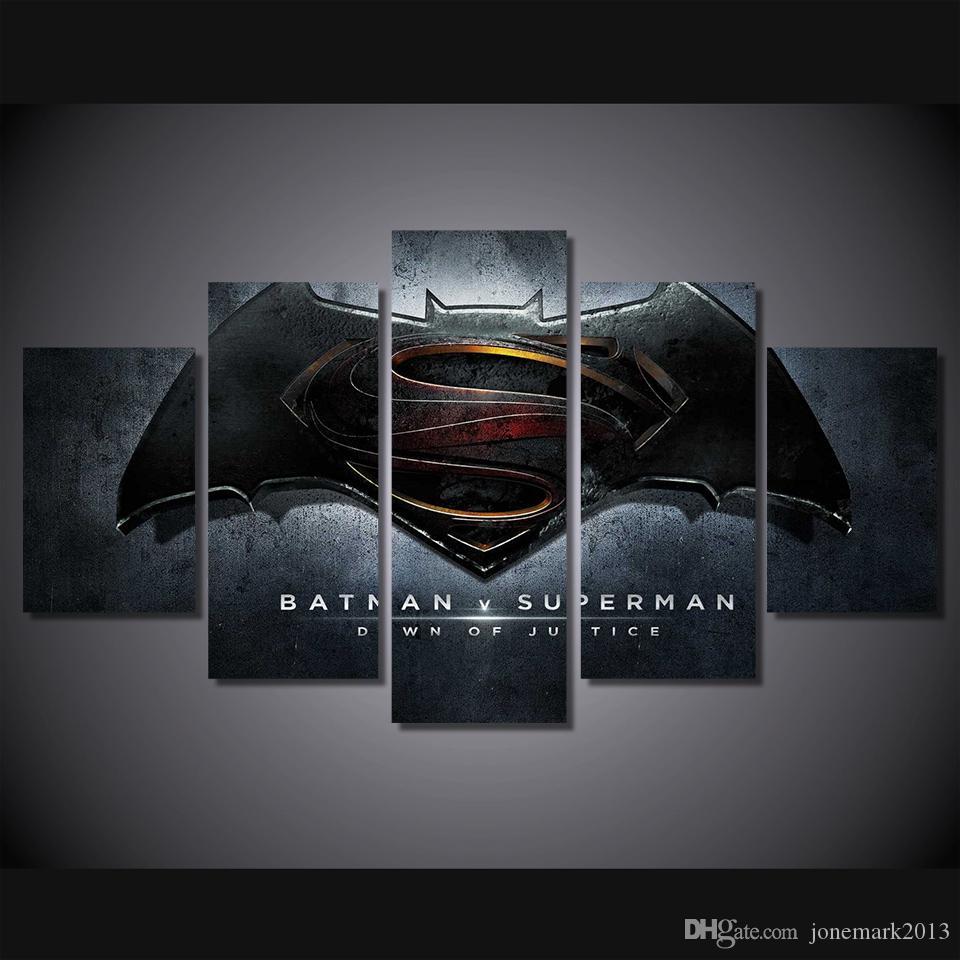 5 Pçs / set Emoldurado HD Impresso batman superman alvorecer de Pintura na lona decoração do quarto imprimir imagem do cartaz da lona Frete grátis / ny-2541