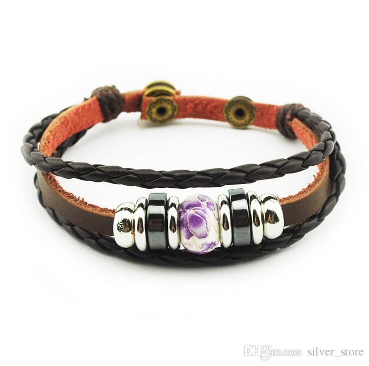 Good A++ Explosion leather cowhide metal buckle wood beads beaded leather bracelet FB227 a Charm Bracelets