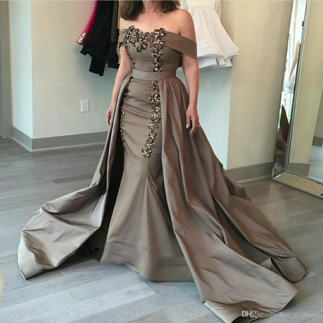 Chocolate Prom Dresses 2016 With Overskirts Mermaid Off the shoulder Sweetheart Court Train Taffeta Prom Gowns