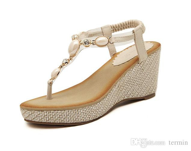 0a23f4bfe70 Sandals Gladiator Women Bohemia High Platform Wedges Beach Sandal Flip  Flops Casual Shoes Sandals Women . LX-041