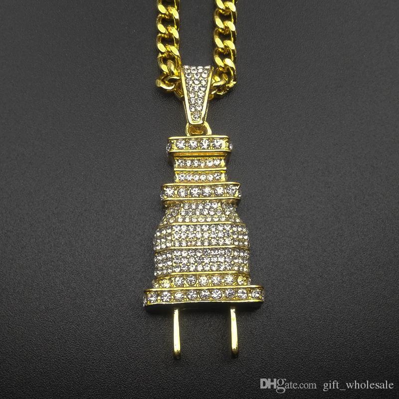 Promotion + plaqué or cédé BLING BLING Fiche Homme Pendentif Collier Plaqué Charm Micro Pave Full strass Cuban Chain Cuban Chain Hip Hop Bijoux