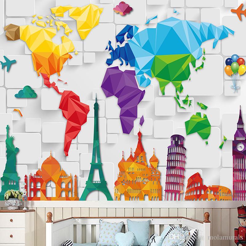 Custom Size 3d Wall Murals World Plate Map Anime Wallpaper For Living Room Children S Bedroom Toy Store Non Woven Mural Wallpaper Decor Download