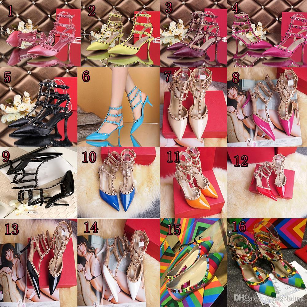 Zapatos de tacón alto de las mujeres vestido de fiesta remaches de moda niñas sexy punta estrecha zapatos hebilla plataforma bombas zapatos de boda negro blanco color rosa