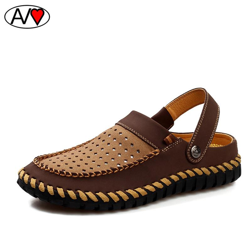 9db031545669d Wholesale- Top Quality Mens Sandals Genuine Leather 2016 Summer ...