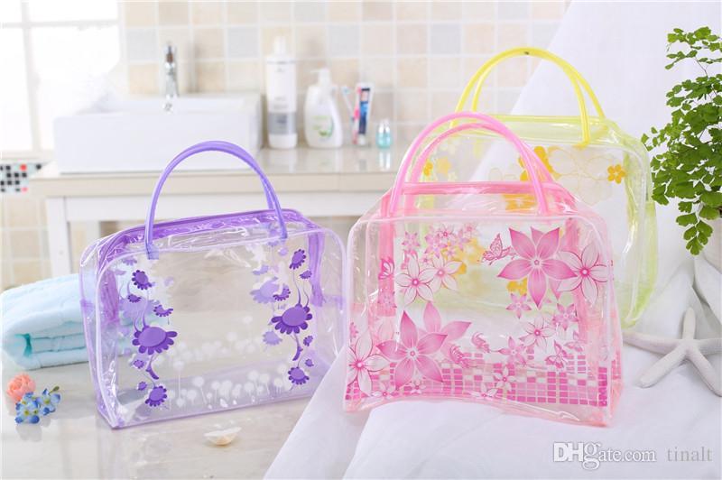 Bolsa de maquillaje transparente a prueba de agua Bolsa de cosméticos Aseo Bolsa de baño Maquillaje Organizador Titular Diseño floral Bolsa de viaje de moda IC667