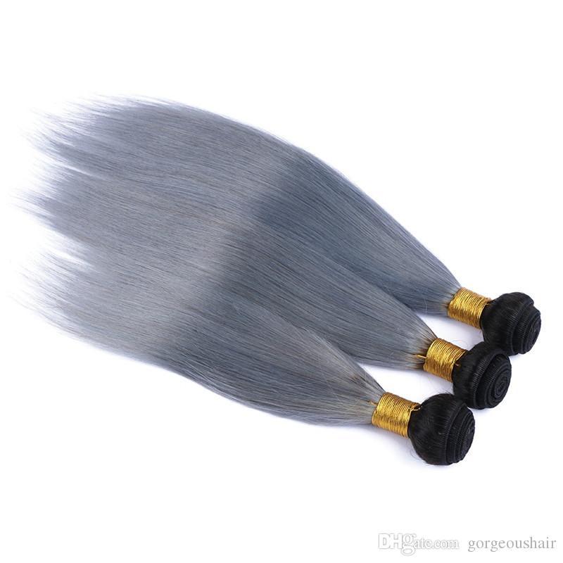 Горячие продажи омбре серебро бразильский девственные волосы 3 шт. омбре серые волосы ткать прямые два тона 1b / серый омбре бразильские человеческие волосы