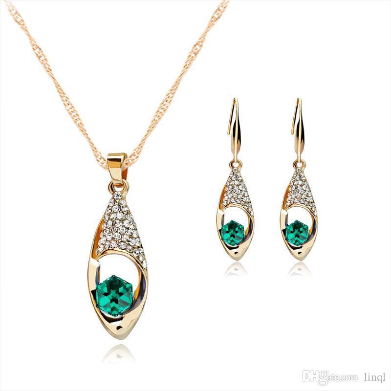 Crystal Diamond Angel Tears Drop Collana Orecchini Imposta collana a catena in oro le donne Gioielli moda sposa