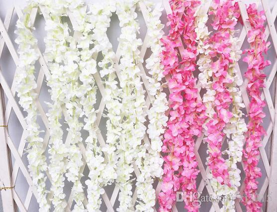 Artificial Hydrangea Wisteria Flower colorsfull DIY Simulation Wedding Arch Door Home Wall Hanging Garland For Wedding Garden Decoration