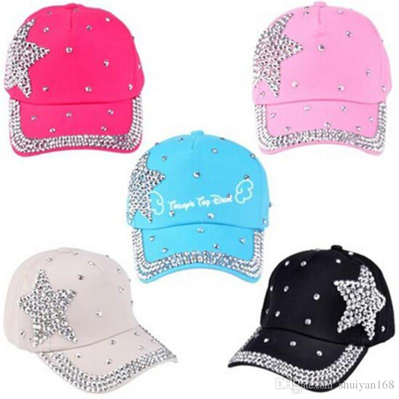 a366ccc4 Fitted Baseball Caps Rhinestone Star Shaped Hats Boy Girls Fashion ...