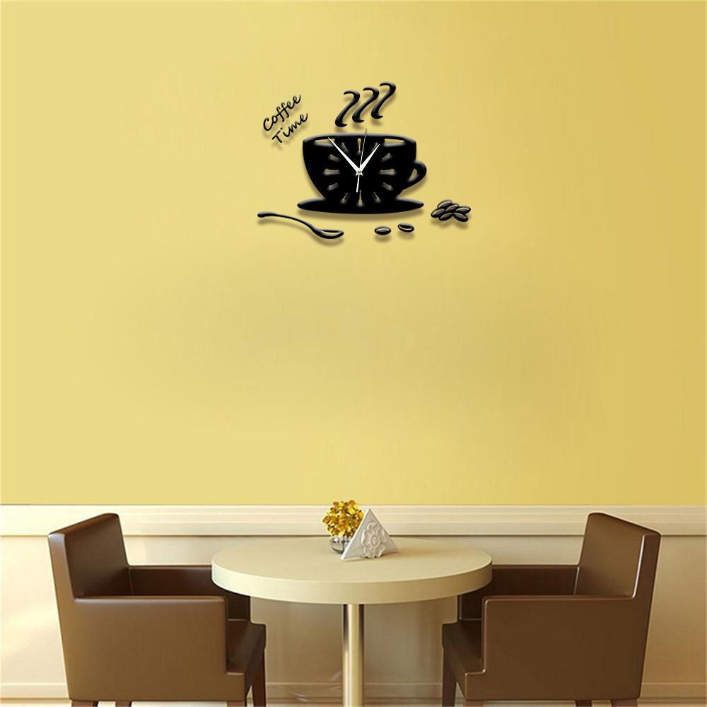 wholesale modern design wall clock coffee cup shape 3d diy large