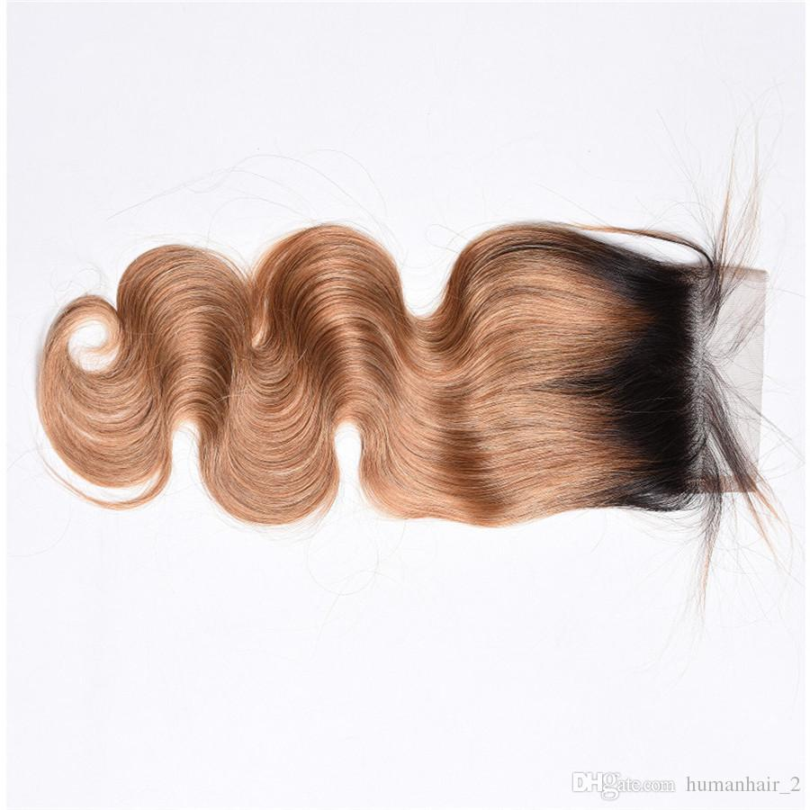 Ombre Honey Blonde 4*4 Lace Closure With Baby Hair Around Body Wave Brazilian Virgin Human Hair T1b 27 Top Closure Bleached Knots