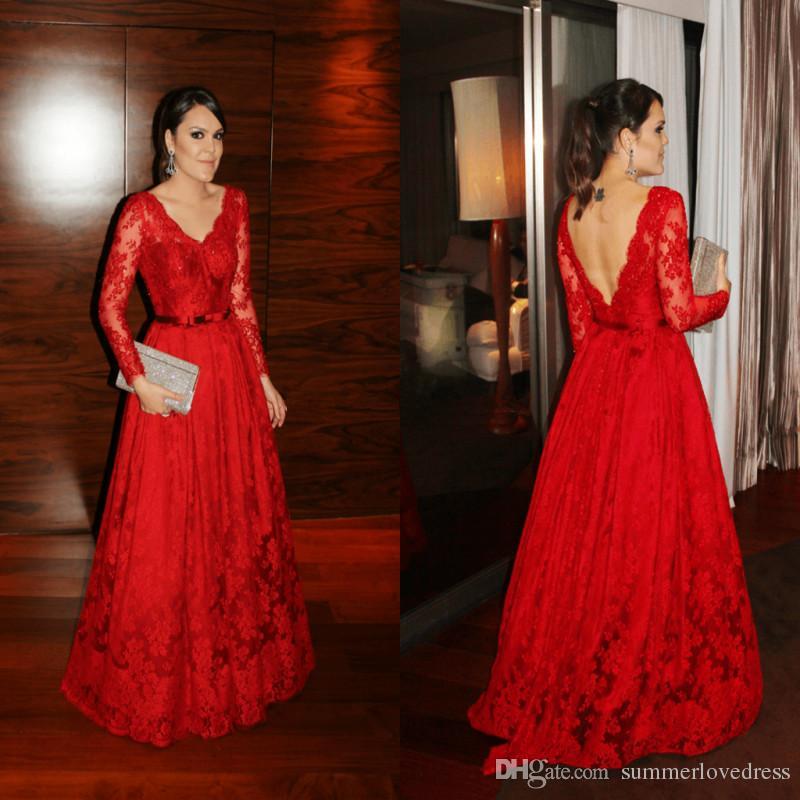 official photos 3ca2b d80a5 2017 nuovi vestiti da sera rossi eleganti maniche lunghe in pizzo con  scollo a V illusion backless bow sash pavimento formale abiti da ballo  partito