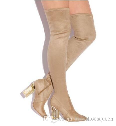 2017 Fashion Women Over the Knee Boots Perspex Clear Heel Pointed Toe Thigh High Boots Plus Size for Women 9cm Crystal Heels