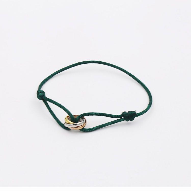 Мода Марка женщины любовник браслет ручной веревки цепи браслет очарование титана из нержавеющей стали три круга Картер
